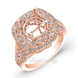 18k Rose Gold Vintage Style Diamonds Engagement Ring