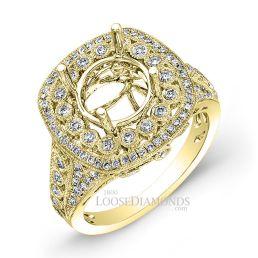 18k Yellow Gold Vintage Style Diamonds Engagement Ring