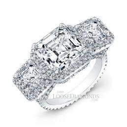 14k White Gold Classic Style 3-Stone Diamond Engagement Ring