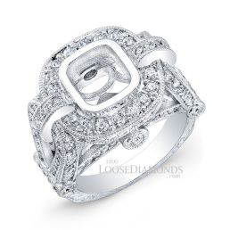 14k White Gold Vintage Style Hand Engraved Diamond Engagement Ring