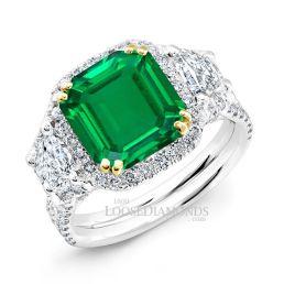 14k White Gold Modern Style Split Shank Trapezoid Diamond Halo Engagement Ring