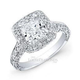 14k White Gold Modern Style 3-Row Diamond Halo Engagement Ring