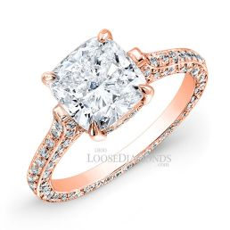 18k Rose Gold Classic Style 3-Row Diamond Engagement Ring
