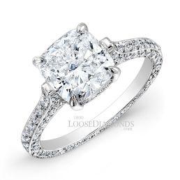 18k White Gold Classic Style 3-Row Diamond Engagement Ring