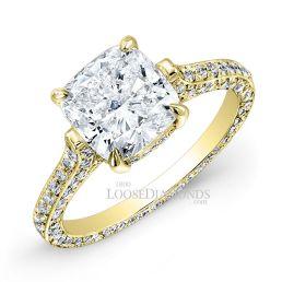 18k Yellow Gold Classic Style 3-Row Diamond Engagement Ring