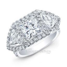 14k White Gold Art Deco Style 3-Stone Diamond Halo Engagement Ring