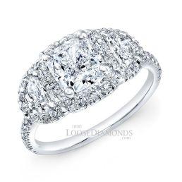 Platinum Modern Style 3-Stone Half Moon Diamond Halo Engagement Ring
