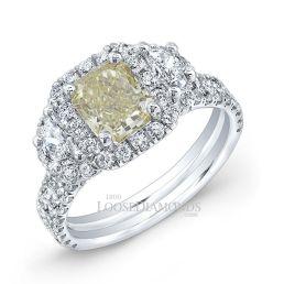 14k White Gold Classic Style 3-Stone Diamond Halo Engagement Ring
