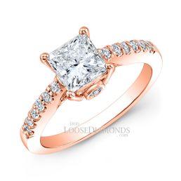 14k Rose Gold Classic Style Diamond Engagement Ring