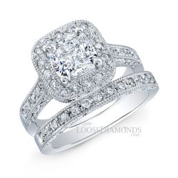 14k White Gold Vintage Style Engraved Cathedral Diamond Wedding Set