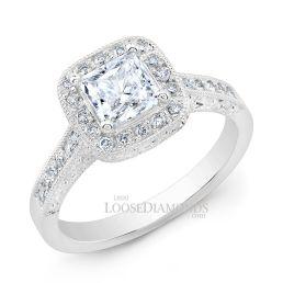 14k White Gold Vintage Style Engraved Diamond Halo Engagement Ring