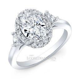 Platinum Modern Style 3-Stone Diamond Halo Engagement Ring