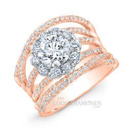 14k Rose Gold Modern Style 2-Tone Twisted Shank Diamond Halo Engagement Ring