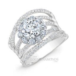 Platinum Modern Style 2-Tone Twisted Shank Diamond Halo Engagement Ring