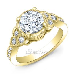 14k Yellow Gold Vintage Style Engraved Diamond Halo Engagement Rings