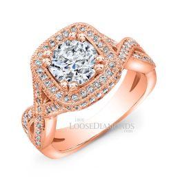 18k Rose Gold Twisted Shank Diamond Halo Engagement Ring
