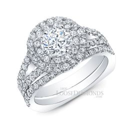 14k White Gold Classic Style Euro Shank Diamond Halo Wedding Set
