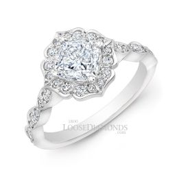 14k White Gold Art Deco Diamond Halo Engagement Ring