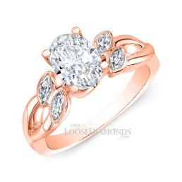 14k Rose Gold Art Deco Style Twisted Shank Diamond Engagement Ring
