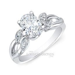 14k White Gold Art Deco Style Twisted Shank Diamond Engagement Ring