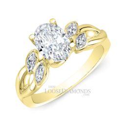 18k Yellow Gold Art Deco Style Twisted Shank Diamond Engagement Ring