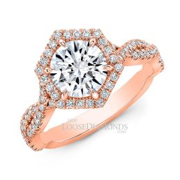 18k Rose Gold Art Deco Style Twisted Shank Hexagon Halo Diamond Engagement Ring