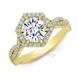 18k Yellow Gold Art Deco Style Twisted Shank Hexagon Halo Diamond Engagement Ring