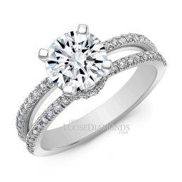 14k White Gold Classic Style Split Shank Diamond Engagement Ring