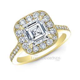 14k Yellow Gold Vintage Style Diamond Halo Engagement Ring