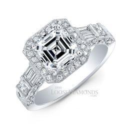 Platinum Vintage Style Hand Engraved Diamond Halo Engagement Ring
