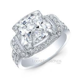 14k White Gold Vintage Style Split Shank Diamond Halo Engagement Ring