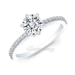 14k White Gold Modern Style Petite Diamond Engagement Ring