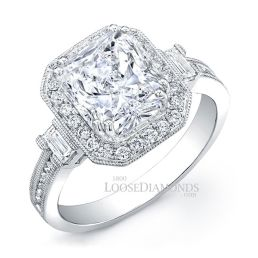 Platinum Modern Style Engraved Diamond Halo Engagement Ring