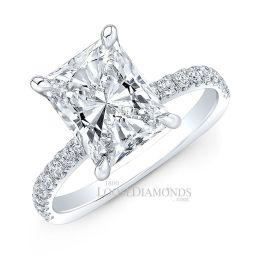 Platinum Euro Shank Hidden Halo Engagement Ring