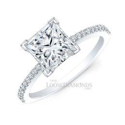 Platinum Modern Style Petite Diamond Engagement Ring