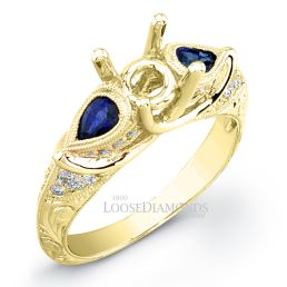 18k Yellow Gold Vintage Style Engraved Sapphire Engagement Ring