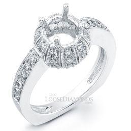 14k White Gold Vintage Art Deco Style Diamond Engagement Ring