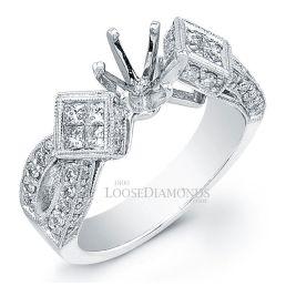 14k White Gold Modern Style Engraved Split Shank Diamond Engagement Ring