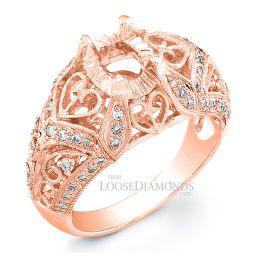14k Rose Gold Vintage Style Engraved Diamond Engagement Ring