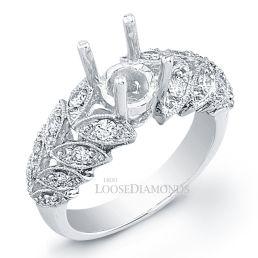 14k White Gold Art Deco Style Engraved Diamond Engagement Ring