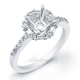 14k White Gold Modern Style Baguette Diamond Halo Engagement Ring