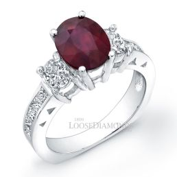 14k White Gold Classic Style 3-stone Diamond & Ruby Cocktail Ring