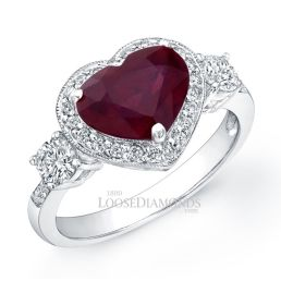 14k White Gold Classic Style 3-Stone Diamond Halo & Ruby Cocktail Ring