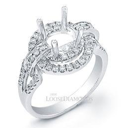 Platinum Art Deco Style Diamond Halo Engagement Ring