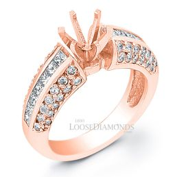 14k Rose Gold Classic Style 3-Row Diamond Engagement Ring