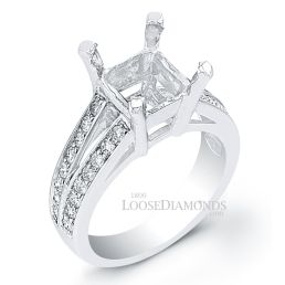 Platinum Modern Style Split Shank Diamond Engagement Ring