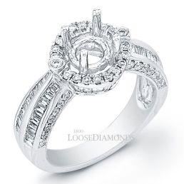 14k White Gold Art Deco Style Diamond Halo Engagement Ring