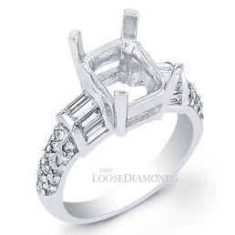 14k White Gold Art Deco Style Baguette Diamond Engagement Ring
