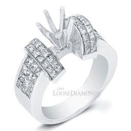 Platinum Modern Style Princess Cut Diamond Engagement Ring