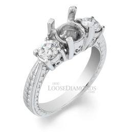 Platinum Vintage Style 3-Stone Engraved Diamond Engagement Ring
